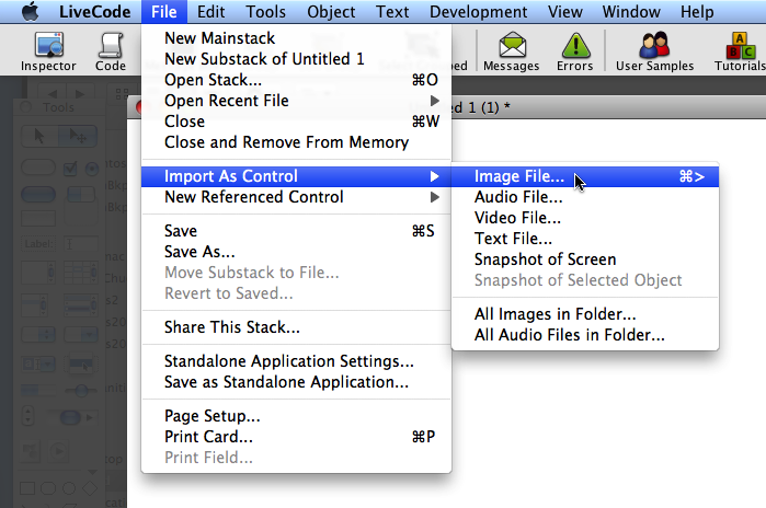 select image file from import as control under the file menu